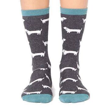 Dachshund Puppy Dog Patterned Cotton Socks in Grey and Teal | DOTOLY