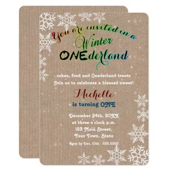 Winter Onederland Girl First Birthday Party Card