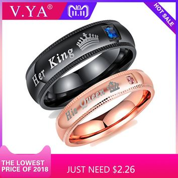 V.YA Promise Couple Rings Trendy Her King & His Queen Custom Crytal Stone Crown Charm Stainless Steel Wedding Ring for Women Men