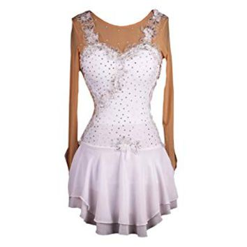 NAKOKOU White Rhinestone Draped Ice Skating Dress Adult