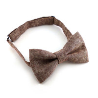 Rust red chambray bow tie mens – pre tied adjustable adult size – burgundy and white cotton linen blend material – pretied bow ties for men