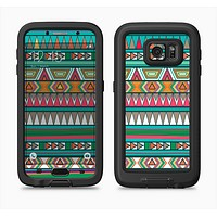 The Tribal Vector Green & Pink Abstract Pattern V3 Full Body Samsung Galaxy S6 LifeProof Fre Case Skin Kit