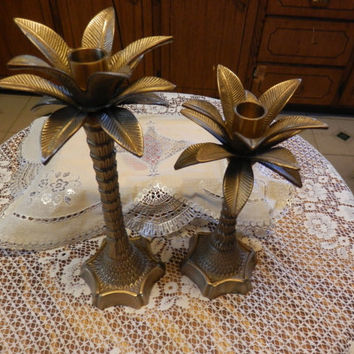 Pair Of Vintage Solid Brass Standing Tall Palm Trees Taper Candle Holders Tropical Metal Gold