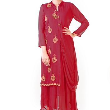 Maroon Hand Embroidered Cowl Tunic Dress