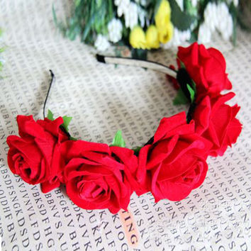 1 Rose Floral Flower Garland Crown Headband Hair Band Bridal Festival Clip Holiday
