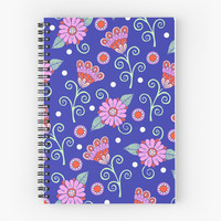 'Floral Dot Motif (Blue version)' Spiral Notebook by Sarah Oelerich