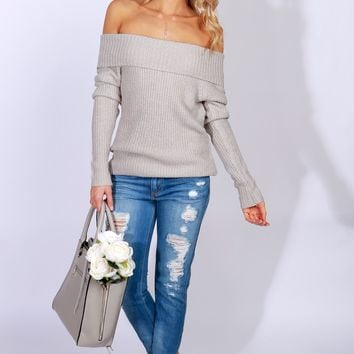 Off The Shoulder Knit Sweater Heather Grey