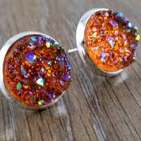 Druzy earrings- ab autumn brown drusy silver tone stud druzy earrings