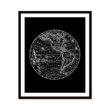 Earth Art Print, Globe, World Map, Travel Art, Geography 5x7, 8X10, 11x14 Choice of Color, Wall Decor, Home Decor