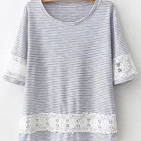 Blue Floral Crochet Embroidered Striped Short Sleeve T-Shirt