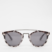 AJ Morgan Round Leopard Print Sunglasses with Metal Brow Bar at asos.com