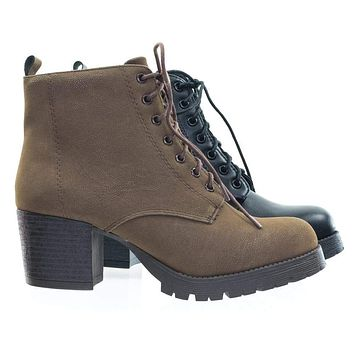 Nevitt by Soda Lace Up Military Combat Ankle Boots w Lug Sole & Vintage Fabric
