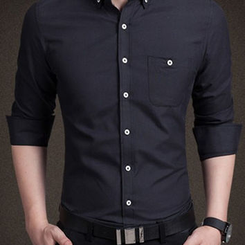 Buttoned Pocket Shirt Collar Long Sleeve Shirt
