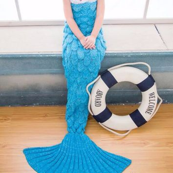 Mermaid Tail Yarn Blanket Knitted Handmade Crochet Warm Mermaid Blanket Throw Wrap Anti-Pilling Sofa Sleeping Bed Sleep Bottoms