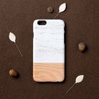 iPhone 6 case, iPhone 6s case - White Marble mix with wood pattern - iPhone 6 case, iPhone 6s , Good Luck Gold Sticker, non-glossy C11