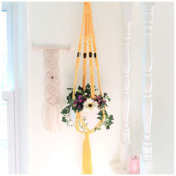 Yellow Beaded Macrame Plant Hanger, Large Hanging Planter, Long Vintage Plant Holder, 70s Modern Hanging Basket, Spiral Pot Holder, SUNSHINE
