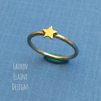 Star Sterling Silver Wire Stacking Ring- Layered Rings, Simple Silver Ring, Silver Stacking Ring