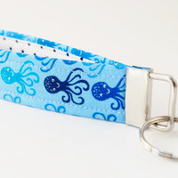 Octopus Keychain, Key fob, Nautical Style Wristlet, Blue