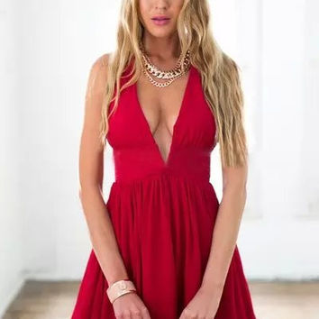 Red V-Neck Strap A-Line Chiffon Dress