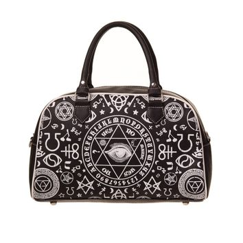 Gothic Black Magic Occult Pentagram & Esoteric Symbols Bowler Bag