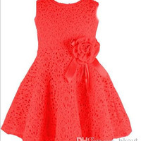 2014 Summer New girls dress,bow princess dress,Children lace dress,kids noble fairy dress high quality Free Shipping