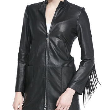 Long Leather Coat W/ Fringe