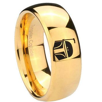 8MM Mirror Dome Star Wars Boba Fett Sci Fi Science 14K Gold IP Tungsten Laser Engraved Ring