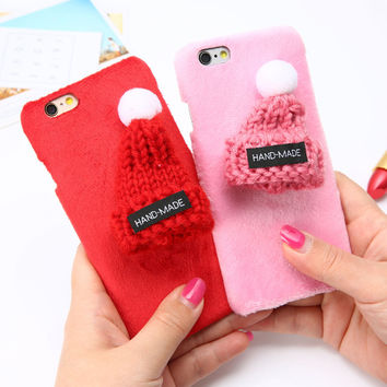 6 7 Fashion Warm Fuzzy Hat Phone Cases For iphone 7 6 6s Plus Funda Cute Cartoon Plush Cap Case Hard PC Cover DIY Christmas Gift