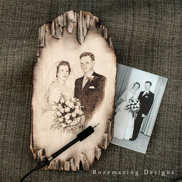 Pyrography Wedding Portraits on Beautiful Distressed Maple - Custom Sizes and Prices