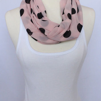 Lightweight Infinity Scarf - Pink with Black Polka Dots