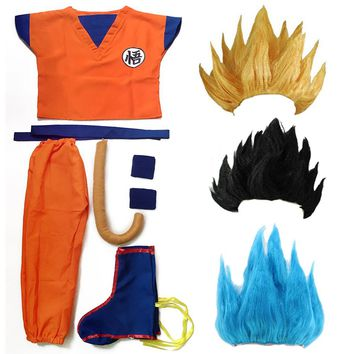 Dragon Ball Z Clothes Suit Son Goku Cosplay Costumes Top/Pant/Belt/Tail/wrister/Wig For Adult Kids 6 SIZE
