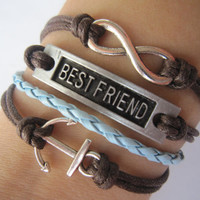 Combined Bracelet / Antiquied Silver Karma Bracelet, Best Friend, Anchor Bracelet / Blue Braid and Brown Wax Cords