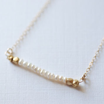 Freshwater Pearl Bar Necklace- Minimalist Bar Necklace // 14k gold filled chain- Dainty Jewelry by HeirloomEnvy