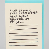 People I've Loved List Of Music Card - Urban Outfitters