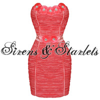 WOMENS NEW CORAL FLORAL CELEBRITY EVENING COCKTAIL STRAPLESS MINI PENCIL DRESS