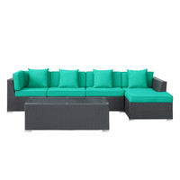 Outdoor Wicker Patio 5 Piece Sectional Sofa Set in Espresso Turquoise