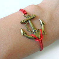 Bangle anchor bracelet simple bracelet hemp ropes bracelet women bracelet girls bracelet with bronze anchor and red ropes SH-0303