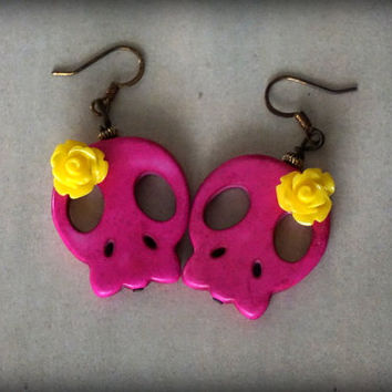 Yellow Rose Lolita Skull Tassel  Earrings