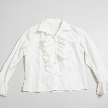 Vintage 1960s Blouse - White Cotton Ruffle Top 60s - Small S