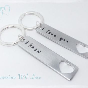 Hand stamped i love you, i know keyring set keychain personalised valentines couples gift anniversary, gift for girlfriend, boyfriend gift