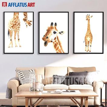 Watercolor Giraffe Wall Art Canvas Painting Wall Art Posters And Prints Canvas Art Animals Wall Pictures For Living Room Decor