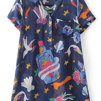 Navy Short Sleeve Pocket Buttons Front Print Dress
