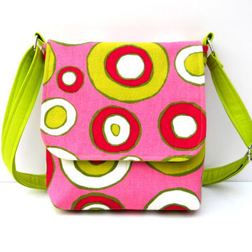 Small Canvas Hip Bag / Messenger Style Purse - Pink with Lime Green Circles