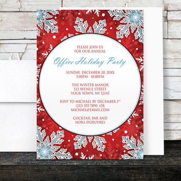 Holiday Party Invitations - Modern Red White and Blue Snowflake design for Christmas or any Winter or Office Party - Printed Invitations