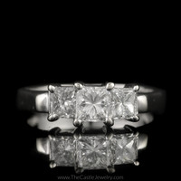 Princess Cut 1cttw Diamond DeBeers Style 3 Stone Ring in 14K White Gold