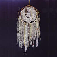 Lacy Flower Dream Catcher, Doily Dream Catcher, Wall Art, Gypsy Dream Catcher