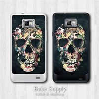 Samsung Galaxy S2 case - Floral Skull - galaxy S2 cover, Black / Clear hard SII case