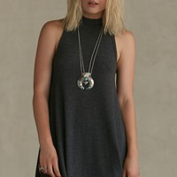 Gypsy Warrior Ribbed Mock Neck Dress - Womens Dress - Gray