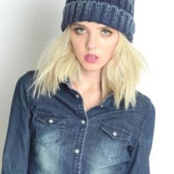 Shades of Life Ombre Ribbed Knit Beanie in Navy   Sincerely Sweet Boutique
