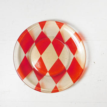 Harlequin Pattern Vintage Glass Dish Red Diamonds Small Bowl Coin Tray Jewelry Candle Holder Candy Relish